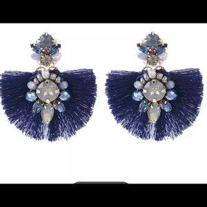 J crew style blue crystal tassel earring